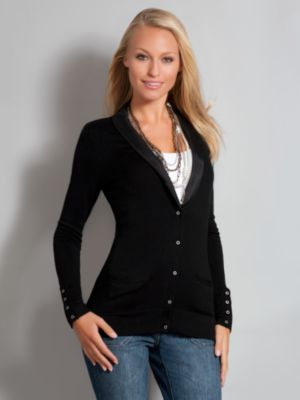 New York & Company Women's City Style Tuxedo Cardigan