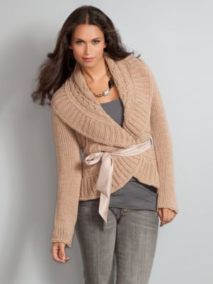 New York & Company Women's Cable Cardigan With Satin Tie - Tan, Grey