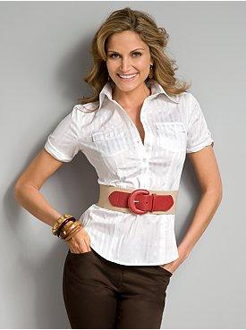 New York & Company: City Stretch 2-Pocket Shirt - Tonal Stripe