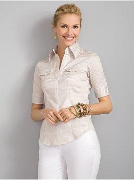 New York & Company: City Stretch 2-Pocket Shirt - Multi Stripe