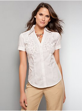 The Madison Shirt - Flower Embellished