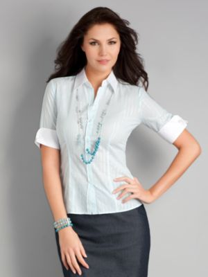 City Stretch Fine Stripe French Cuff Shirt