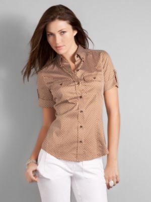 City Stretch Print Short Sleeve Shirt