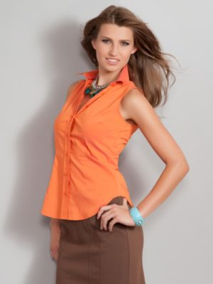 Women's Orange The Madison Shirt Sleeveless Solid Size Extra Small