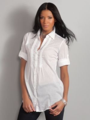 Women's White Pintuck Tunic Shirt Size Extra Small