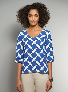 Diamond Print High-Low Blouse