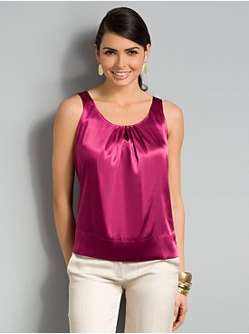 City Style Pleated Satin Tank