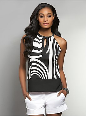 Geometric-Print Colorblock Halter Top