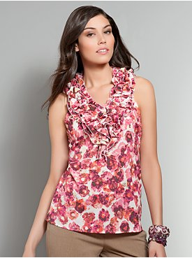 Floral Print Ruffle Shell