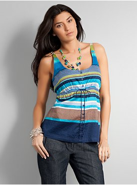 New York  & Company - Tees  & Tanks - City Style Button Front Stripe Cami