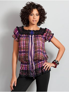 New York  & Company - Blouses - City Style Print Peasant Blouse