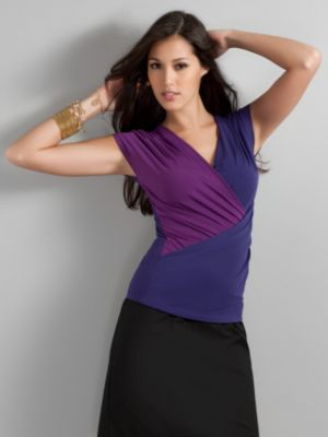 City Stretch Matte Jersey Colorblock Top