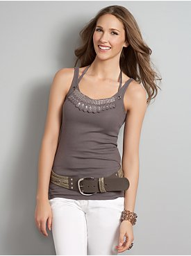 New York  & Company - Tops - Beaded Necklace Tank