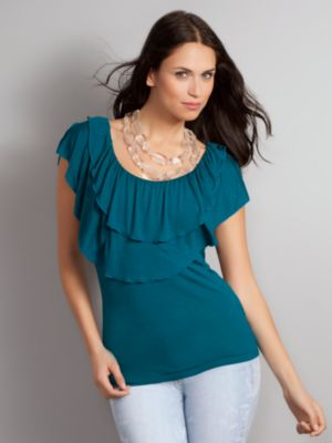 Women's Cascade Ruffle Sleeveless Top