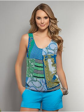 Chiffon Overlay Sleeveless Top - Multi Abstract Print