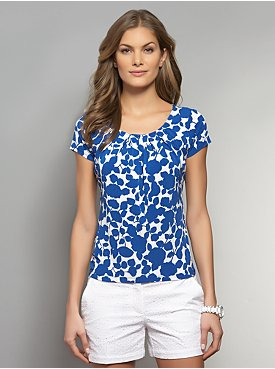 Floral Print Pleat Neck Top