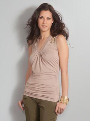 Women's Uptown Shirred Sleeveless Top Sequin Trim
