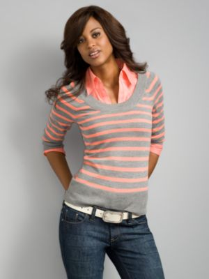 City Style Striped Scoop Neck Sweater