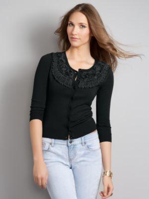 Women's Black Chelsea Cardigan Rosette Size Extra Small