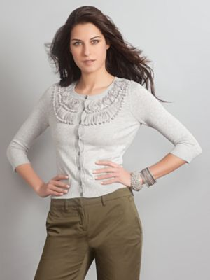 Women's Grey Chelsea Cardigan Rosette Size Extra Small