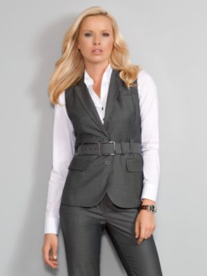 New York & Company Women's City Style Sharkskin Belted Sleeveless Jacket - Black