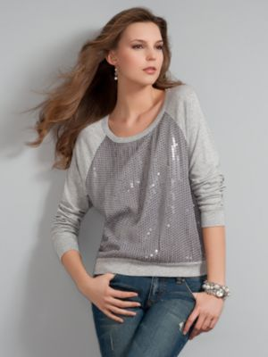 New York & Company Women's Grey Comfortzone Sequin Sweatshirt