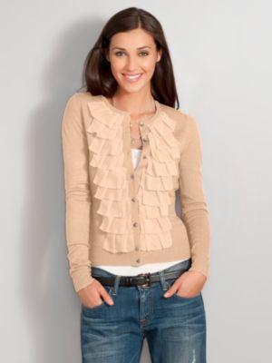 New York & Company Women's Antique-button Ruffle Cardigan - Tan