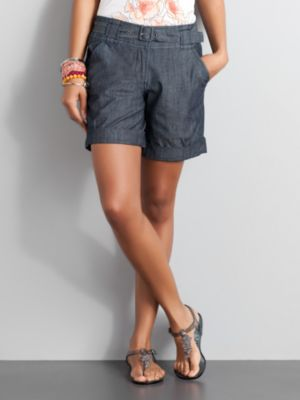 City Style Belted Denim Shorts