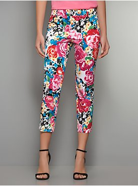 The 7th Avenue Straight Leg Sateen Crop Pant - Floral Print