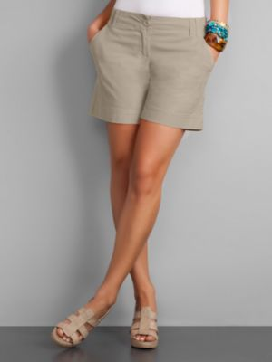New York & Company Women's City Style Flat Front Shorts - Sidewalk Grey