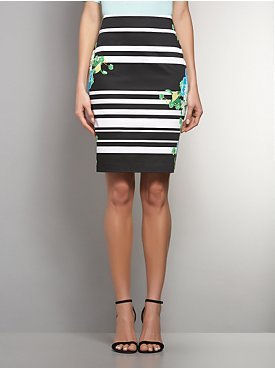 Stripe & Floral-Print Pencil Skirt