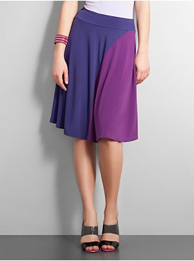 New York  & Company - Skirts - City Stretch Colorblock Knit Skirt :  dancing elastic waistband dance flowing