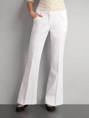 7th Avenue Cotton/Linen Flare Pants - Petite