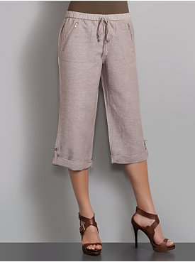 New York  & Company - Streetwear - Streetwear Linen Blend Crop Pants
