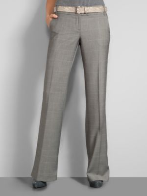 New York & Company Women's 3rd Avenue Glen Plaid Wide Leg Pants - Average - Smoldering Grey Heather