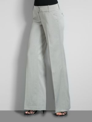 New York & Company Women's 3rd Avenue Herringbone Wide Leg Pants - Average - Lt Heather Grey