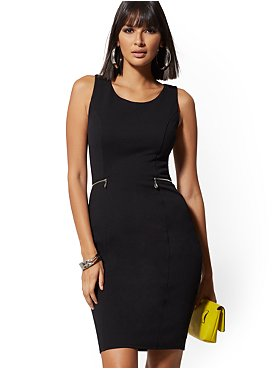 Solid Sleeveless V-Neck Dress