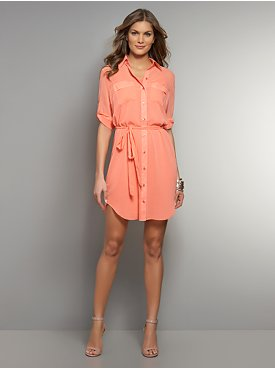 Chiffon Roll-Sleeve Shirtdress