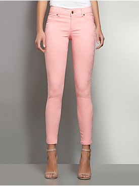 Floral-Embossed Jean Ankle Legging