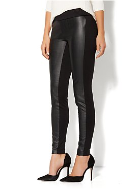 Faux Leather-Front Legging