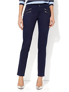 Zipper-Detail Ankle Pants