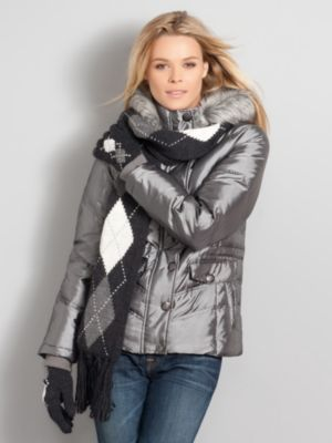 New York & Company Women's Galaxy Iridescent Puffer Jacket