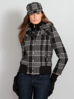 New York & Company Women's Wool Blend Plaid Bomber Jacket - Black
