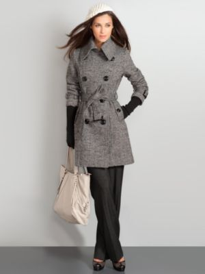 New York & Company Women's Wool Blend Tweed Trench - Black