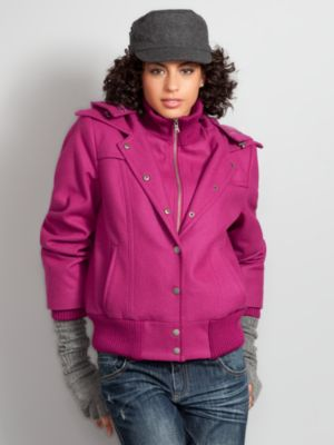 New York & Company Women's City Style Wool Blend Bomber Jacket - Pink