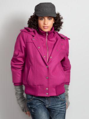 New York & Company Women's Wool Blend Bomber Jacket - Green, Brown, Pink, Black