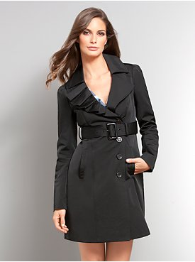 Ruffle Lapel Trench Coat