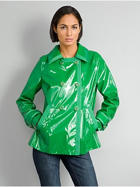 New York & Company: City Style Patent Trench :  jacket rain coat double-breasted rain jacket