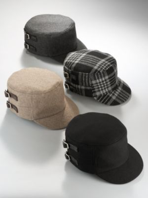 New York & Company Women's Double Buckle Hat - Black, Plaid, Brown, Grey