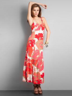 City Style Sleeveless Print Maxi Dress